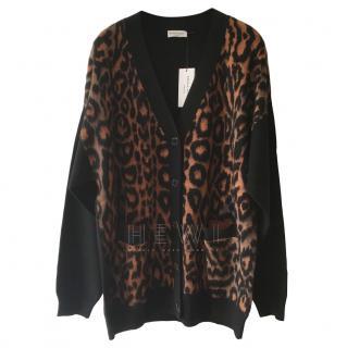 Sonia Rykiel Angora Wool Leopard Print Cardigan