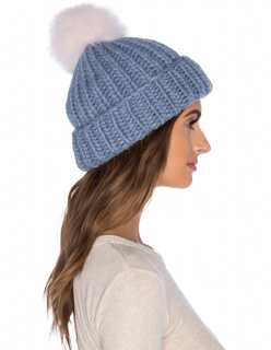 Eugenia Kim Arctic Fox Fur Rain Beanie in Heather Blue