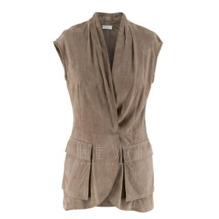 Brunello Cucinelli taupe suede sleeveless jacket