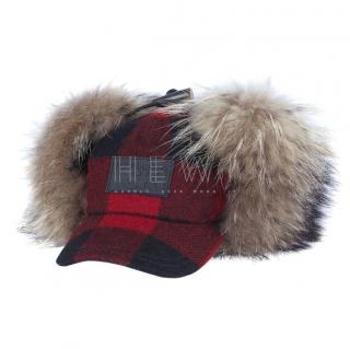 DSquared Red Tartan Racoon Fur Trim Trapper Hat
