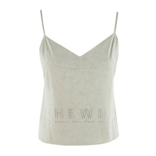 Chanel Mint Green Camellia Embroidered Camisole Top