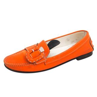 Tod's Orange Moccasin Loafers
