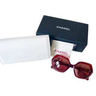 Chanel Hexagonal Red Sunglasses
