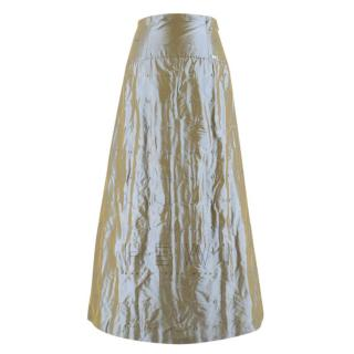Chanel High Waist Iridescent Stitch Embroidered Silk Skirt