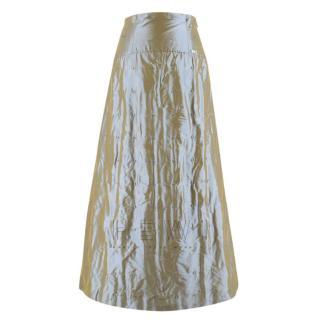 Chanel High Waist Iridescent Stitch Embroidered Silk Skirt