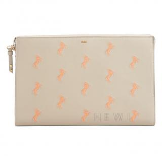 Chloe Horse Embroidered Calfskin Pouch