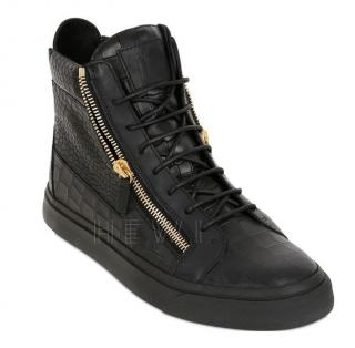 Giuseppe Zanotti Black Croc Embossed Leather High Top Sneakers