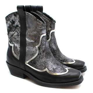 Rupert Sanderson Black & Silver Distressed Leather Cowboy Boots