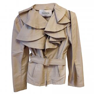 Valentino Silk Blend Beige Ruffled Jacket