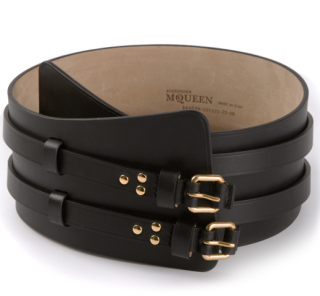 Alexander McQueen Black Double Buckle Strap Wide Belt