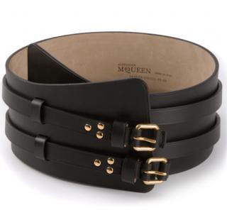 Alexander McQueen Black Double Buckle Strap Wide Belt