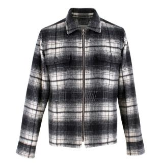 Sandro Black & White Men's Check Wool Jacket