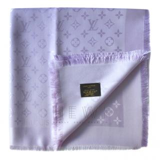Louis Vuitton lilac silk/wool blend large monogram shawl