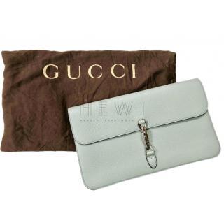 Gucci pale blue leather clutch