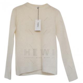 Farhi Nicole Farhi White Merino Wool & Cashmere Jumper