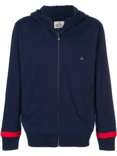 Vivienne Westwood navy blue orb detail cotton hoodie