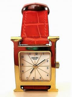 Hermes vintage H Heure watch with red crocodile strap