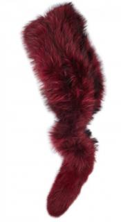 Charlotte Simone Burgundy Raccoon and Fox fur scarf