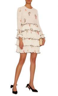 Ganni Lowell Pleated Floral-Print Crepe Mini Dress