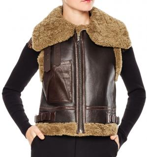 Sandro Brown Salome Leather & Shearling Vest