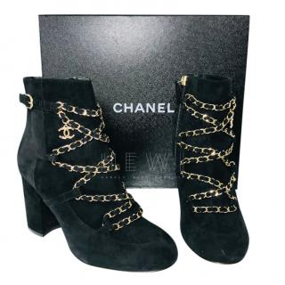 CHanel Suede Chain Front Block Heel Ankle Boots