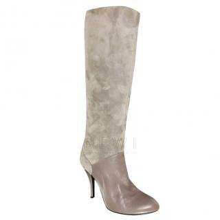 Bally heeled long taupe boots