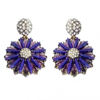 Bespoke purple and crystal statement pierced flower earrings
