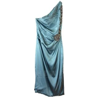 Roberto Cavalli one shoulder embellished teal silk dress
