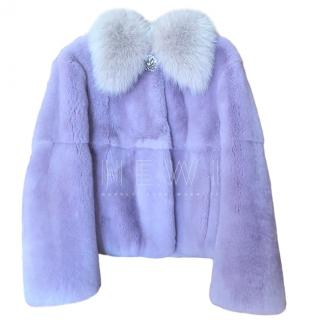 Miu Miu lavender fur /crystal detail jacket