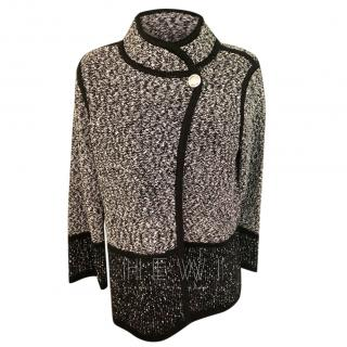Karl Lagerfeld black and white cotton blend cardigan