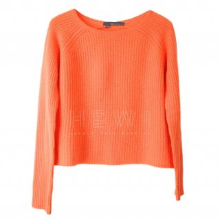 360 Cashmere neon orange boxy cashmere jumper