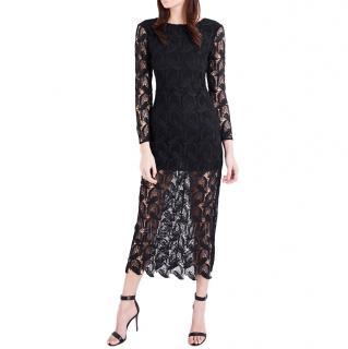 Maje Black Sheer Crochet Knit Midi Dress