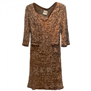 Chanel Brown Tweed Hand Crocheted Knit Dress