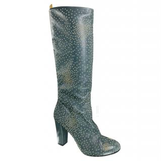 Chloe Tall Grey Studded Boots
