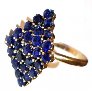 Bespoke vintage sapphire cluster cocktail ring