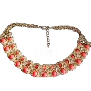 Bespoke coral colour and crystal statement choker/necklace