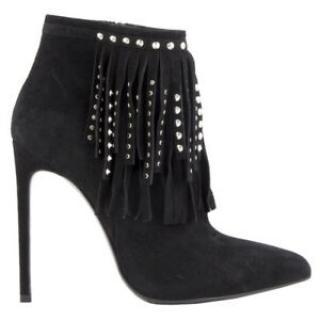 Saint Laurent Suede Studded Fringe Ankle Boots
