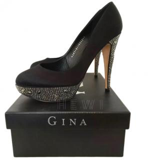 Gina Black Satin Swarovski Embellished Pumps