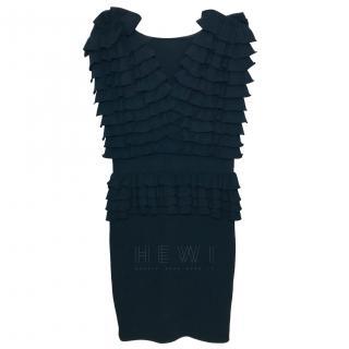 Antonio Valenti Black Peplum Frilled Dress