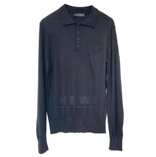 Dolce & Gabbana Men's Knit Black Polo Shirt