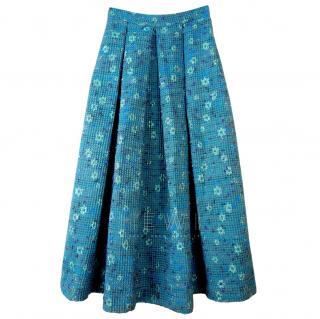 Charlie Brear Blue Tweed A-Line Midi Skirt