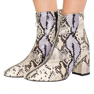 Rebecca Minkoff Snake Skin Leather Zip Front Booties