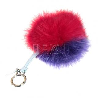Fendi Purple & Red Fox Fur Pom Pom Key Ring