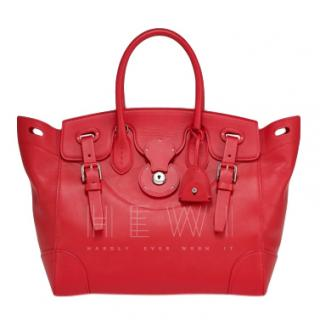 Ralph Lauren Red Soft Leather Ricky Bag