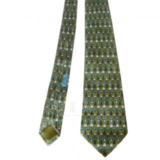 Hermes Green Plants & Trees Silk Tie