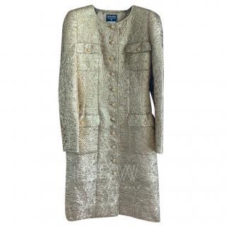 Chanel Vintage Gold Brocade Coat Dress