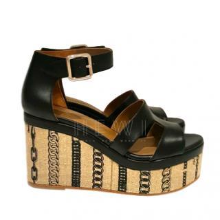 Hermes Chain Print Platform Wedge Sandals