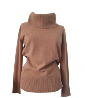 Max Mara Camel Virgin Wool Roll neck Jumper