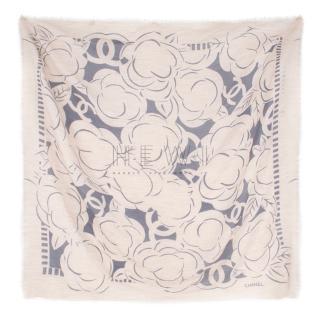 Chanel Camellia CC Print Cashmere & Silk Blend Scarf