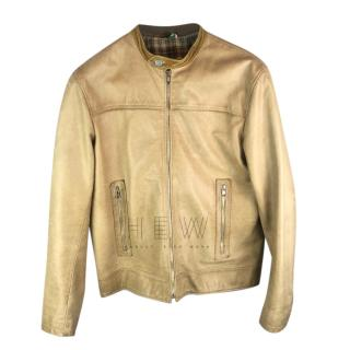 Moschino Men's Gold Leather Jacket